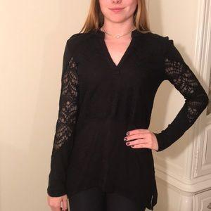 Black Lace V Neck Sweater